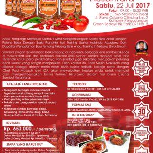 Training Sambal Nusantara, 22 Juli 2017