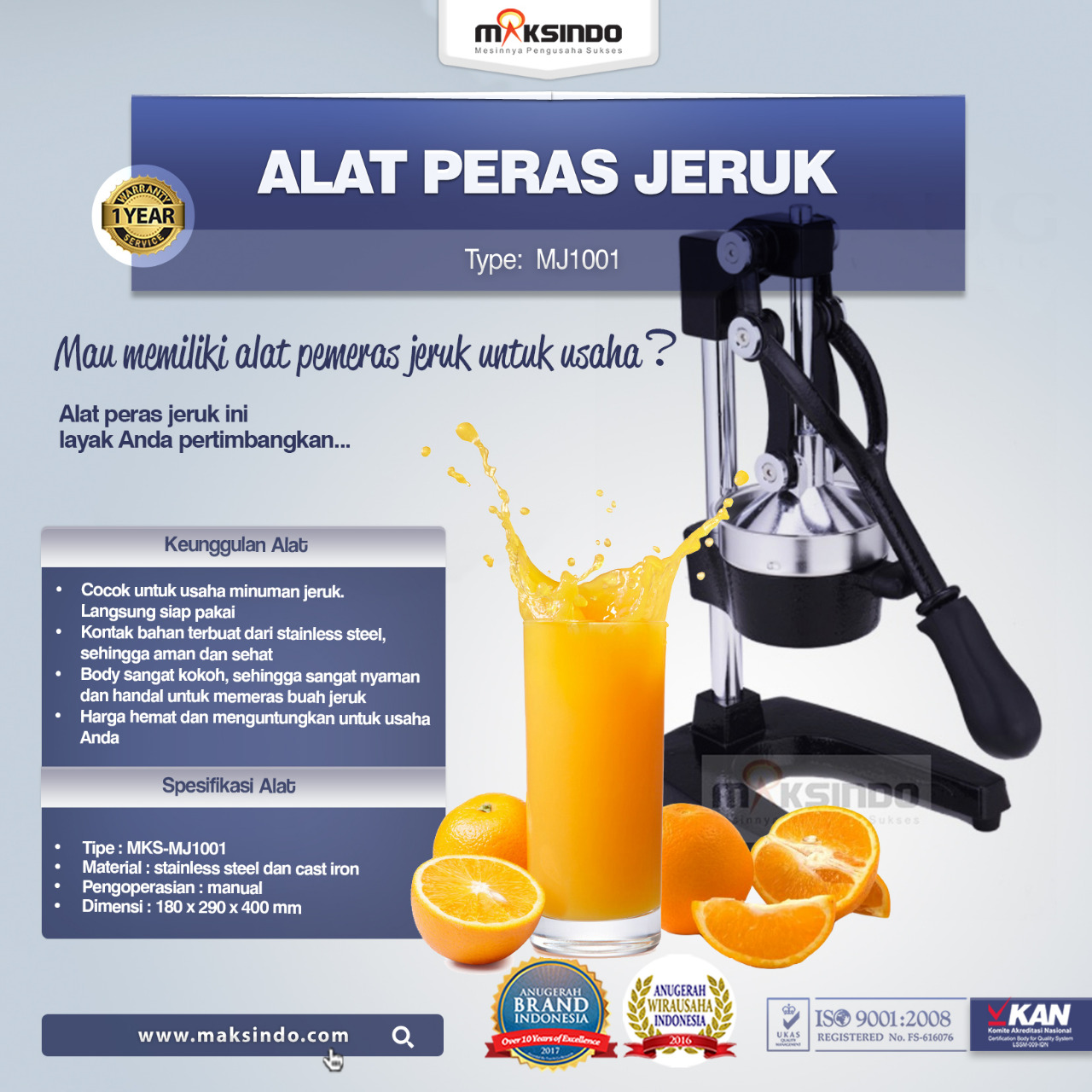 ... Jual Alat Pemeras Jeruk Manual (MJ1001) di Medan ...