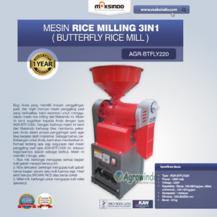 Jual Mesin Rice Milling 3in1 (Butterfly Rice Mill) AGR-BTFLY220 di Medan